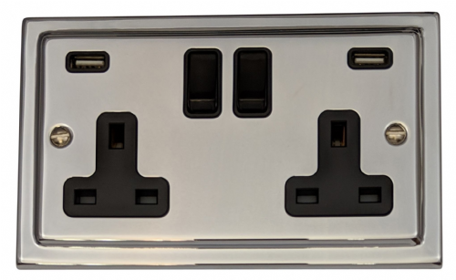 G&H TC910B Trimline Plate Polished Chrome 2 Gang Double 13A Switched Plug Socket 2.1A USB